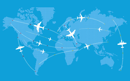 jets: Different jets paths. Civil airplanes trajectories on world map
