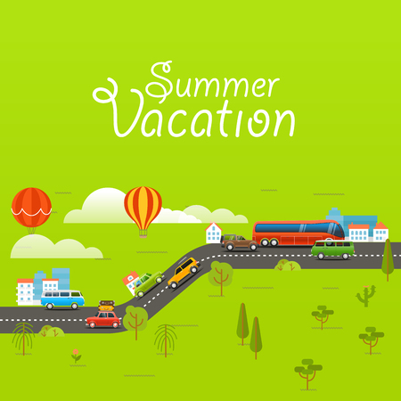 urban jungle: Summer season vector concept. Summer vacation illustration