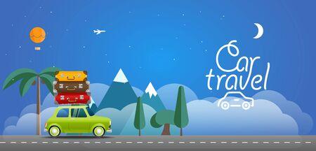 bagagli: Take Vacation travelling concept. Flat design illustration. Car travel concept