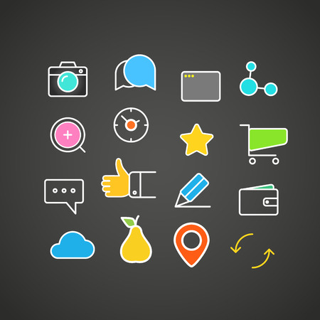 application icons: Different simple web icons collection. Flat design application icons Illustration