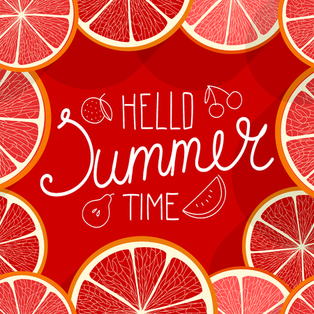 summer fruits: Hello summer time. Vector illustration with fruits