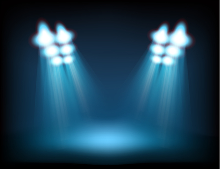 reflector: Bright stage with spot lights. Template for a content