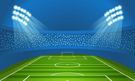 Light stadium mast vector illustration. Stadium with green football field Stock Illustratie