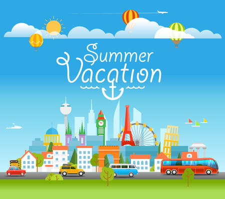 sightseeng: Vacation travelling concept with logo. Summer vacation concept Illustration