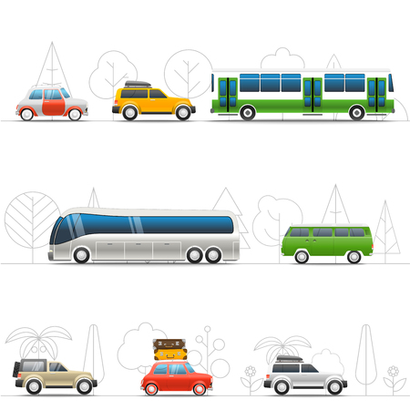 Vacation travelling concept. Flat design vector illustration. Different vevicle voyage