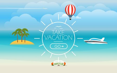 vacation summer: Summer seaside vacation illustration. Vector travel illustration Illustration