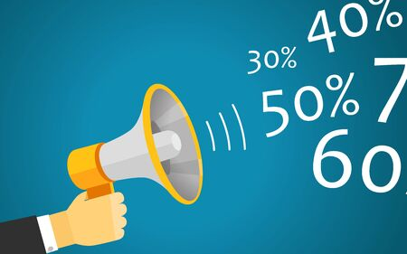 hands holding sign: Loud voice of the speaker vector illustration. Discount