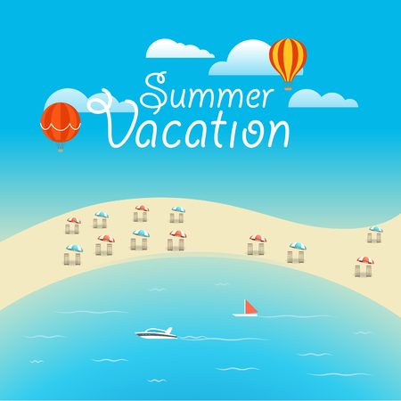 Summer season vector concept. Summer vacation illustration