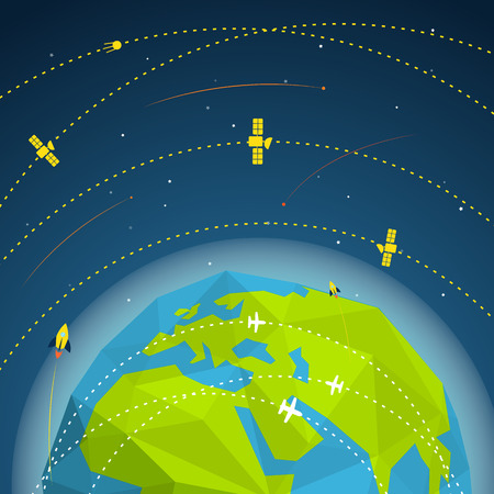 sattelite: Abstract global modern flying sattelites Illustration