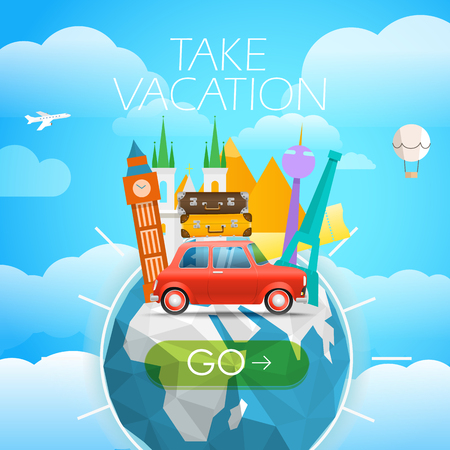sights: Vacation travelling concept. Vector travel illustration with different famous sights. Take vacation concept with the   the Earth