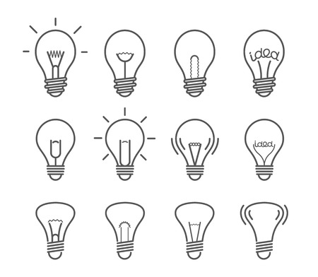 socle: Different light bulb isolated on white vector illustration set. Light lamps icon collection