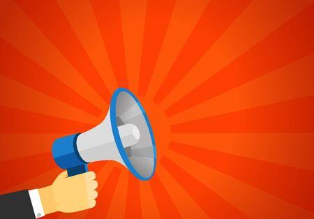 loud speaker: Loud voice of the speaker vector illustration. Discount