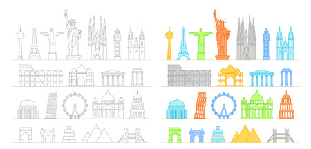 goverment: Famous buildings silhouettes collection. Lineart illustration