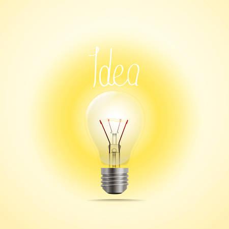 Bright lamp vector illustration. Idea concept Illustration