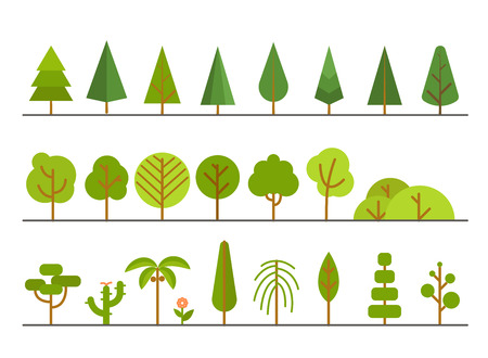 lineart: Different trees collection. Lineart design set Illustration