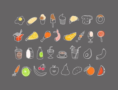 Different food hand-drawn silluettes. Vector coolection Illustration