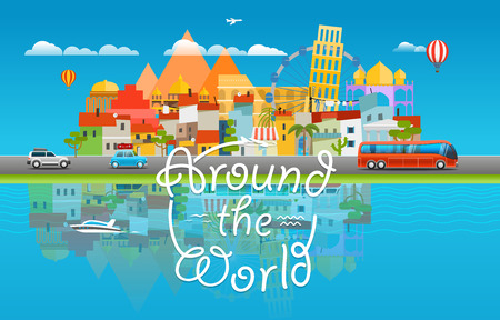 water bus: Around the world travelling concept. Asia cityscape Vector travel illustration Illustration