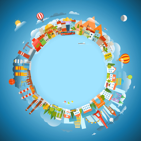 locations: The Earth and different locations. Travel concept vector illustration. Copy-space  for any text