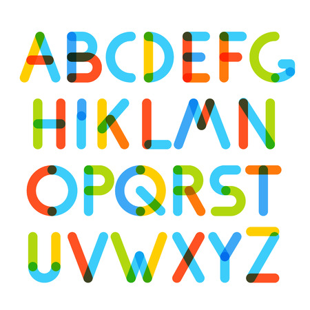 multiply: Multiply geometric colorful letters. Design elements Illustration
