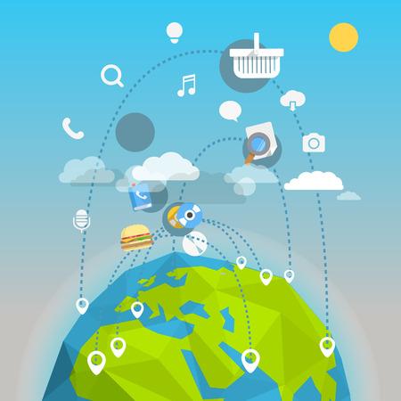 World trade abstract scheme. Design elements Illustration