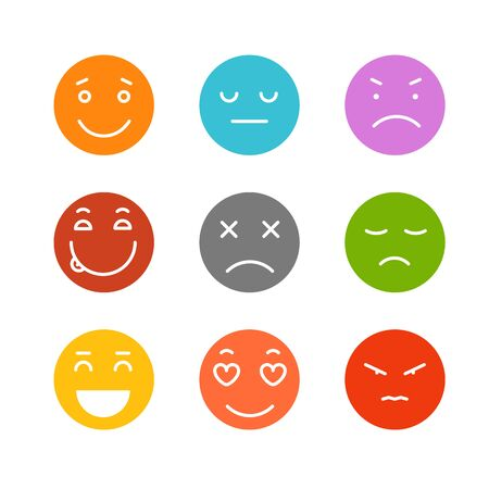 Different schematic face emotions isolated on white Illustration