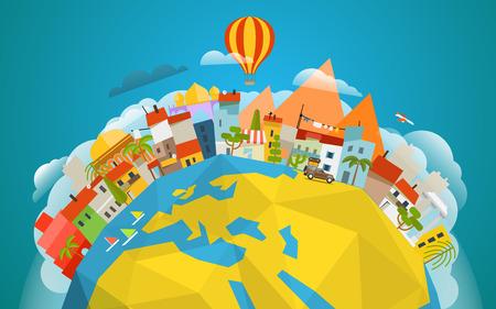 Travel-Konzept Vektor-Illustration. Rund um die Welt Illustration