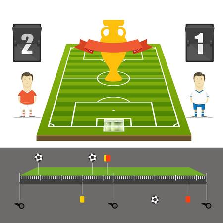 crossbars: Soccer match statistics template. Flat design