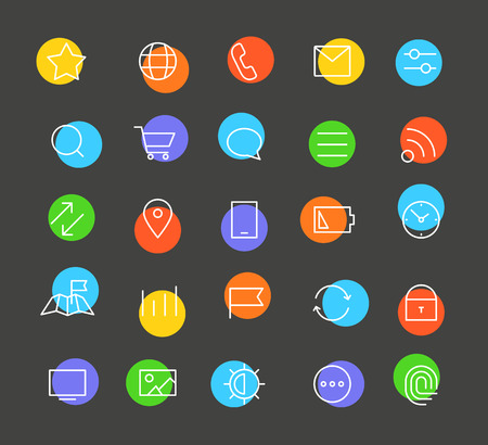 finger tip: Modern web and mobile application pictograms collection. Lineart intercece icons set