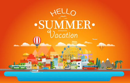 east river: Hello summer vacation concept. Cityscape Vector illustration