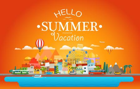 sights: Hello summer vacation concept. Cityscape Vector illustration