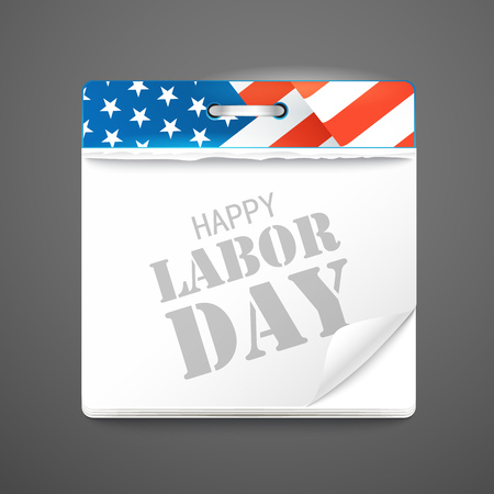 celebration card: The celebration of The Labor Day. Vector greeting card with calendar Illustration
