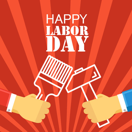 happy worker: The celebration of The Labor Day. Vector greeting card illustration