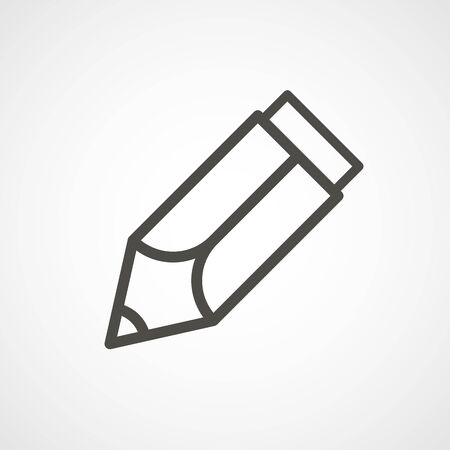 lineart: web icon of modern lineart pencil. Digital application pictogram