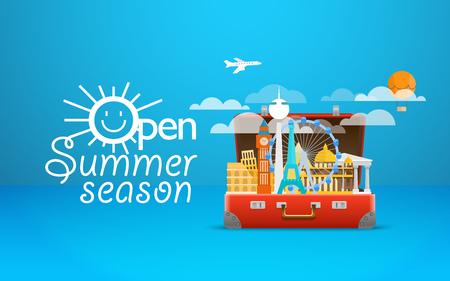 sights: Travel bag vector illustration. Vacation design template. Open summer season Illustration