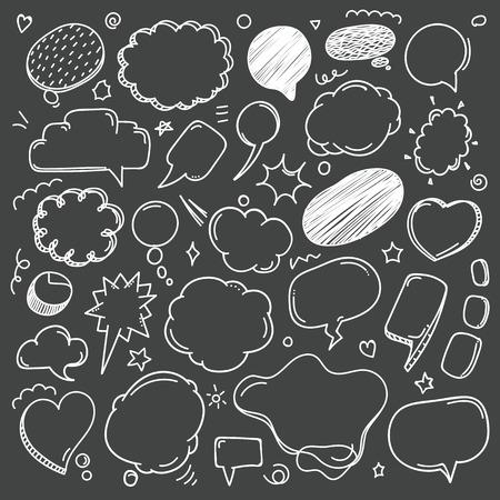 dialogo: A diferencia del discurso del estilo del bosquejo colección de nubes sobre fondo oscuro. garabatos vectores establecidos Vectores