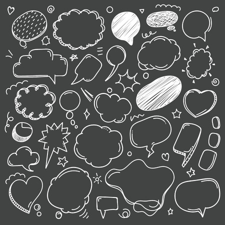 Different sketch style speech clouds collection on dark background. Vector doodles set