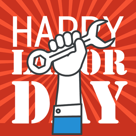 The celebration of The Labor Day. Vector greeting card illustration