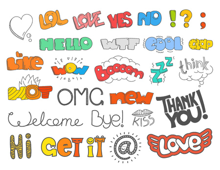 lol: Different sketch style words collection. Vector doodles set