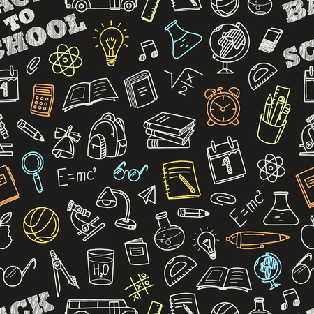 Back to school chalk doodles seamless pattern. Education elements clip-art for design