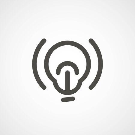 lineart: web icon of modern lineart lightbulb. Digital application pictogram