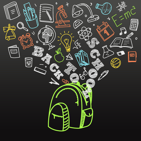 calendario escolar: Volver al concepto de escuela. La caída de los iconos a la bolsa de la escuela Vectores