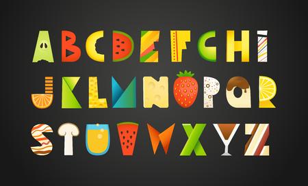 Verschiedene Lebensmittel bunte kreative Alphabet. Vektor-Illustration