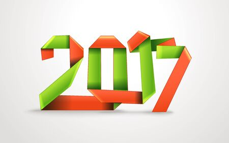 photoreal: Happy New 2017 year. Silk decorative ribbon origami style Illustration