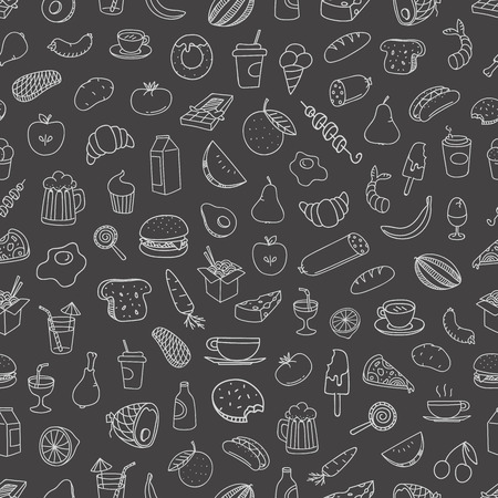 Different food doodles seamless background. Lineart hand-drawn elements