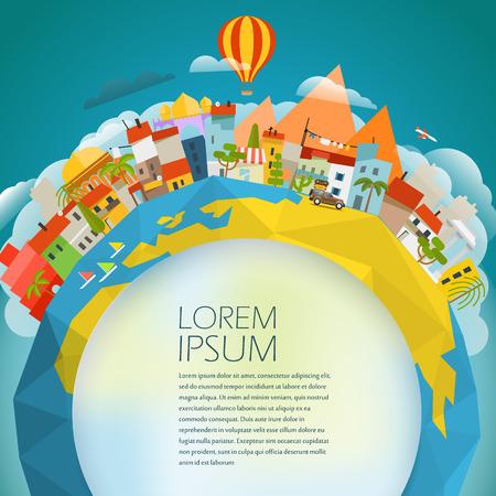 Travel-Konzept Vektor-Illustration. Auf der ganzen Welt. Copy-Platz für einen beliebigen Text Standard-Bild - 60997740