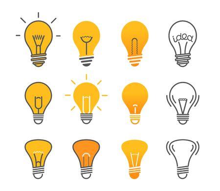 bombilla: Diferentes bombillas aisladas en blanco conjunto de ilustración vectorial. Colección de iconos de lámparas de luz