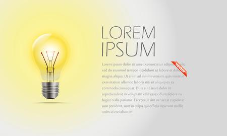 idea lamp: Lighting lamp and a text. Idea concept