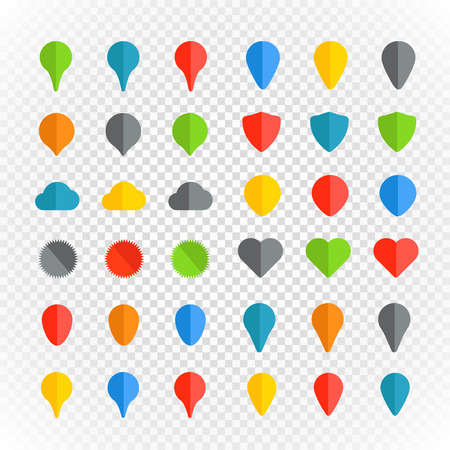 poi: Navigation pins color collection on transparent background Illustration