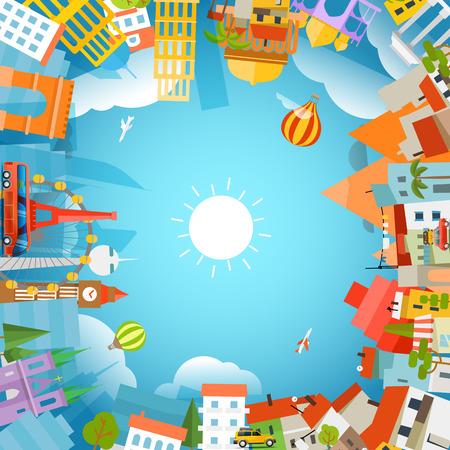 Mundo signts famosas siluetas. Viajes concepto de ilustración vectorial
