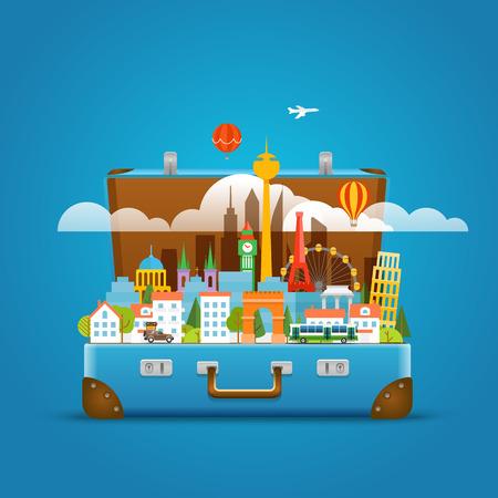 bagagli: luoghi di fama mondiale Dirrefent. Intorno al concetto del mondo. Moderna illustrazione paesaggio urbano vettoriale viaggio. Vacanze concetto di design